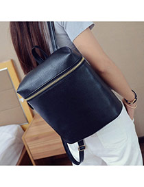Fashion Black Metal Chain Decorated Pure Color Simple Backpack