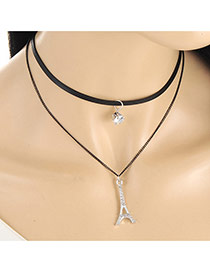 Fashion Black Eiffel Tower Pendant Decorated Double Layer Necklace