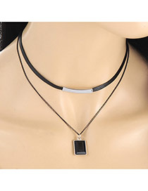 Fashion Black Square Shape Pendant Decorated Double Layer Necklace