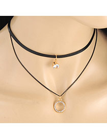 Fashion Black Hollow Out Round Shape Pendant Decorated Double Layer Neckalce