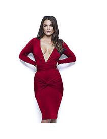 Sexy Red Long Sleeve Decorated Long V Neckline Fold Cross Long Dress