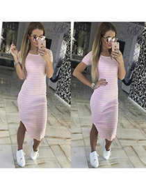Sexy Pink+white Short Sleeve Decorated Stripe Pattern Split Dress