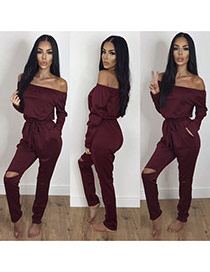 Sexy Claret-red Off-the-shoulder Decorated Pure Color Hole Jumpsuits