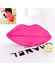 Sweet Plum Red Lip Shape Decorated Pure Color Shoulder Bag