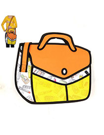 Cute Orange Cartoon 3d Strip Pattern Decorated Simple Backpack
