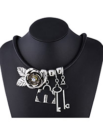 Exaggerate Silver Color Key&flower&lock Pendant Decorated Short Chain Necklace
