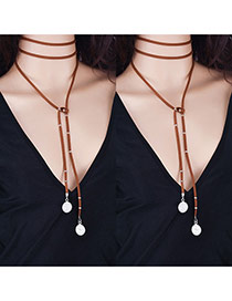 Vintage Brown Metal Round Shape Pendant Decorated Long Chain Necklace