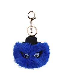 Lovely Blue Eyes Decorated Fuzzy Ball Design Simple Key Ring