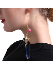 Fashion Black Feather Pendant Decorated Long Chain Earrings
