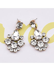 Delicate White Round&oval Diamond Shape Decorated Simple Earrings