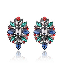 Delicate Multi-color Geometric Shape Diamond Decorated Simple Earrings
