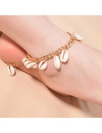 Bohemia Gold Color Shells Tassel Decorated Simple Chain Anklet