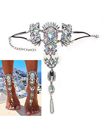 Exaggerate Silver Color Geometric Shape Gemstone Decorated Tassel Anklet
