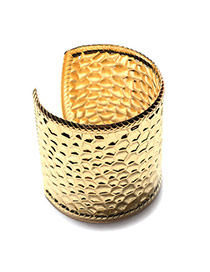 Fashion Gold Color Pure Color Design Three-dimensional Groove Shape Bracelet
