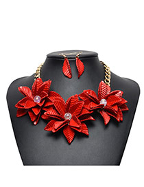 Exaggerated Red Leaf&diamond Decorated Flower Shape Jewelry Sets