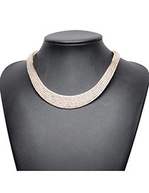 Exaggerated Gold Color Full Diamond Decorated Short Chian Collar Necklace