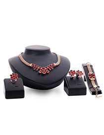 Fashion Gold Color+red Round Shape Diamond Decorared Simple Jewelry Sets