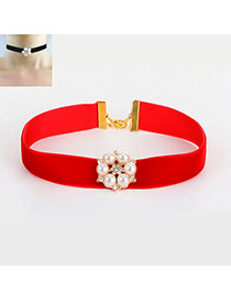 Fashion Red Pearls Decorated Flower Shape Pure Color Necklace