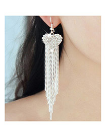Fashion Silver Color Long Tassel Pendant Decorated Heart Shape Earrings
