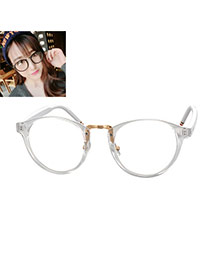 Elegant White Color Matching Design Round Frame Simple Glasses