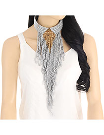 Fashion Silver Color Beads Tassel Pendant Decorated Collar Necklace