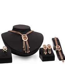 Fashion Gold Color Long Tassel Pendant Decorated Multi-layer Jewelry Sets