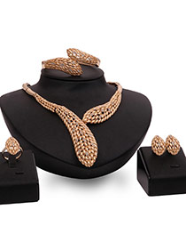 Exaggerated Gold Color Diamond Decorated Hollow Out Design Jewelry Sets