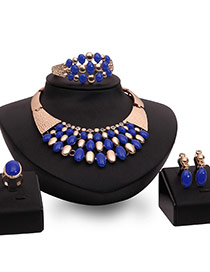 Exaggerated Blue Beads Decorated Multi-layer Simple Jewelry Sets