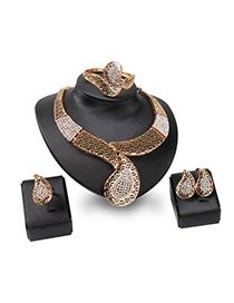 Fashion Gold Color Irregular Shape Design Hollow Out Jewelry Sets