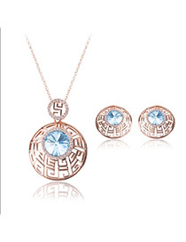 Fashion Blue Round Shape Diamond Decorated Hollow Out Design Jewelry Sets(2pcs)