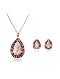 Fashion Gold Color Water Drop Shape Pendant Decorated Simple Jewelry Sets(2pcs)