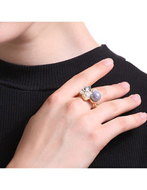 Fashion Gold Color+gray Pearl&diamond Decorated Irregualr Shape Simple Ring