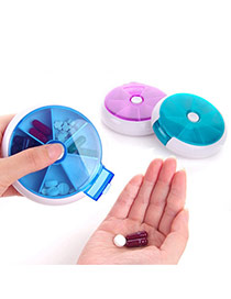 Lovely Random Color Matching Design Round Shape Design Pill Case Household Goods