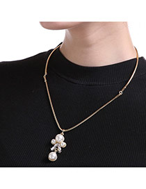 Vintage Gold Color Pearls&diamond Pendant Decorated Short Chain Collar Necklace