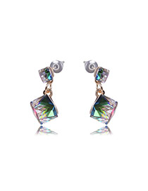 Elegant Multi-color Square Shape Diamonds Decorated Simple Earrings