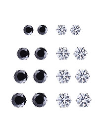 Elegant Black+white Diamonds Decorated Geometric Shape Jewelry Sets