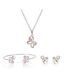 Fashion Gold Color Diamond Decorated Butterfly Shape Simple Jewelry Sets (3pcs)