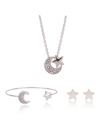 Fashion Gold Color Moon&star Decorated Simple Jewelry Sets (3pcs)