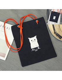 Lovely Black Cat Pattern Decorated Pure Color Simple Canvas Bag