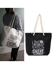 Fashion Black Letter Great Pattern Decorated Square Shape Canvas Bag