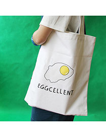 Lovely White Omelette&letter Pattern Decorated Pure Color Canvas Bag