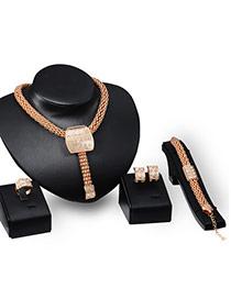 Fashion Gold Color Diamond Decorated Irregualr Shape Jewelry Sets (4pcs)