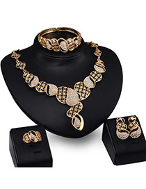 Fashion Gold Color Diamond Decorated Hollow Out Irregular Shape Design Jewelry Sets (4pcs)