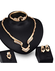Exaggerated Gold Color Diamond Decorated Hollow Out Irregular Shape Simple Jewelry Sets