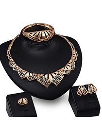 Exaggerated Gold Color Pure Color Design Hollow Out Irregular Shape Simple Jewelry Sets (4pcs)