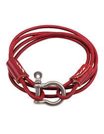 Fashion Red U Shape Pendant Decorated Simple Bracelet