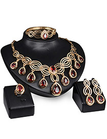 Vintage Gold Color+red Oval Diamond Pendant Decorated Hollow Out Jewelry Sets