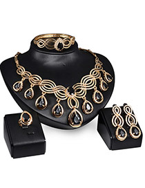 Vintage Gold Color+black Oval Diamond Pendant Decorated Hollow Out Jewelry Sets