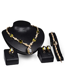 Lovely Dark Green +gold Color Square&diamond Shape Decorated Short Chain Jewelry Sets