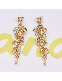Vintage Yellow Round Shape Decorated Simle Tassel Earrings